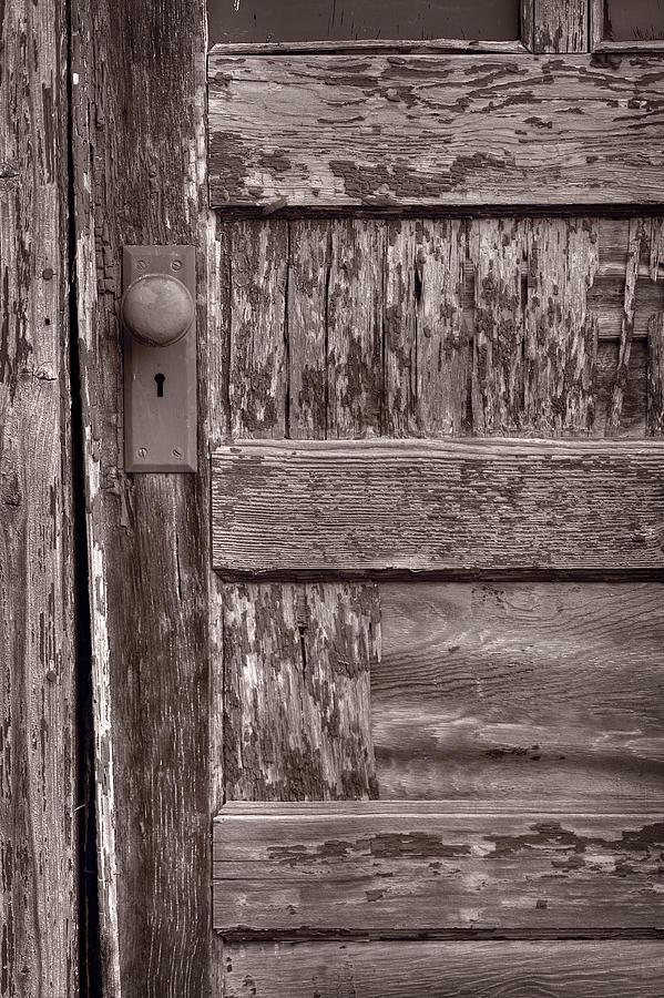 Door Photograph - Cabin Door Bw by Steve Gadomski