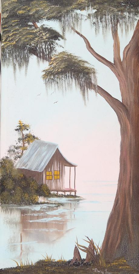 Cabin Painting - Cabin In The Swamp by Mary Matherne
