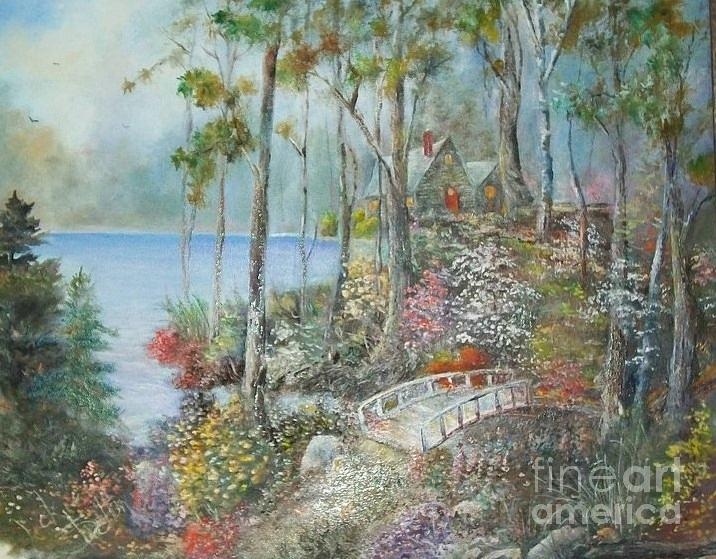 Cabin In The Woods Painting by Vickie Shelton
