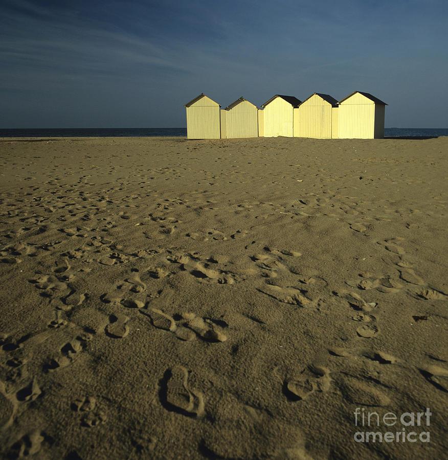 Alignment Photograph - Cabins On A Beach In Normandy by Bernard Jaubert