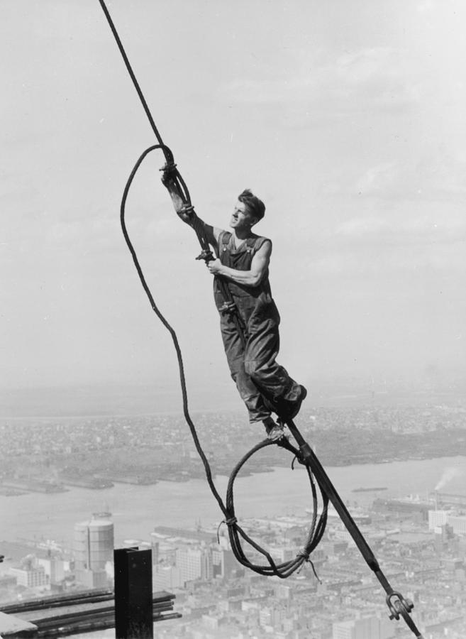 Adults Only Photograph - Cable Connection by Lewis W Hine