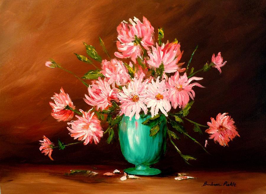 Flowers Painting - Cactus Dahlias by Barbara Pirkle