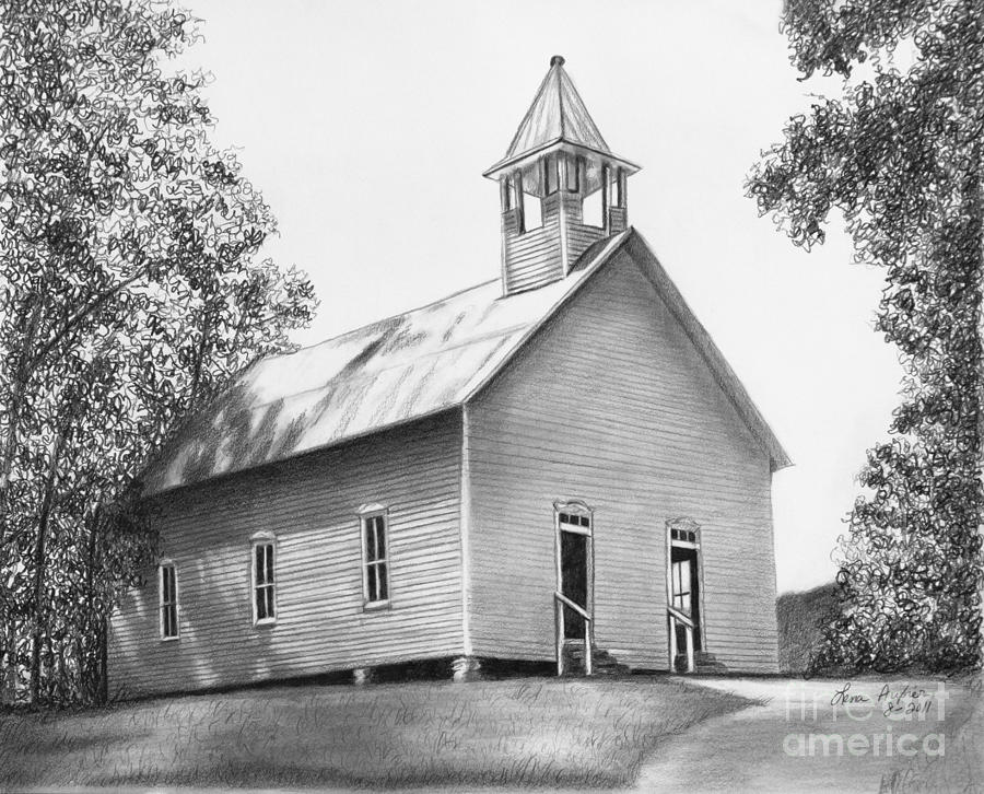 Paper Drawing - Cades Cove Methodist Church by Lena Auxier