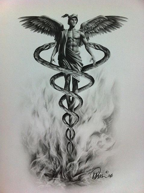 caduceus drawing by mario pichler
