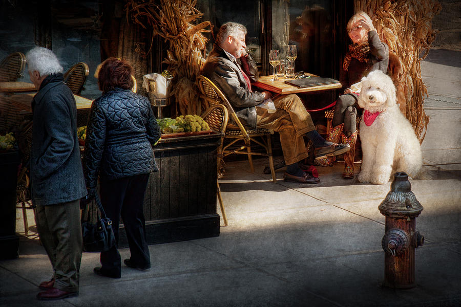 Dog Photograph - Cafe - Ny - High Line - Waiter I Would Like To Order  by Mike Savad