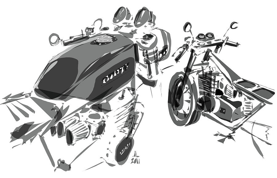 Hot Rod Drawing - Cafe - Variation by Jeremy Lacy