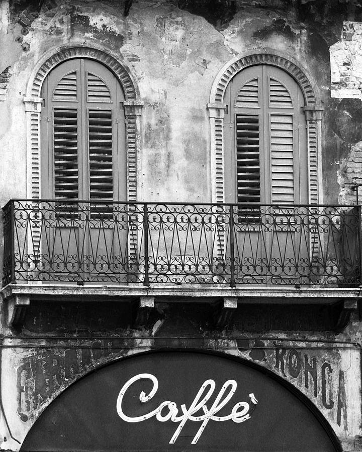 Cafe photograph cafe in verona in black and white by greg matchick