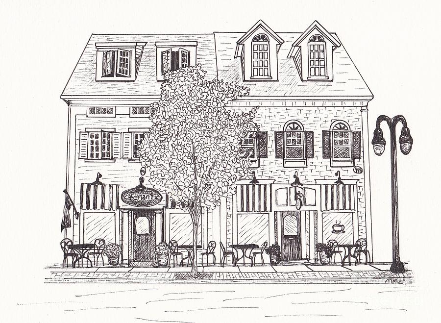 Architectural Drawing Drawing - Cafe Mantic by Michelle Welles