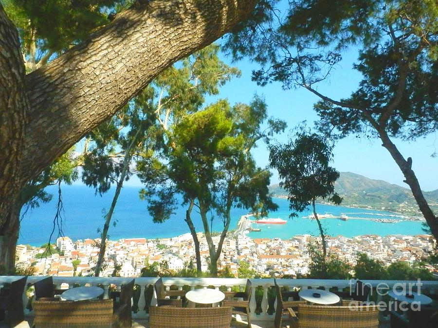 Zakynthos Photograph - Cafe Terrace At Bohali Overlooking Zante Town by Ana Maria Edulescu