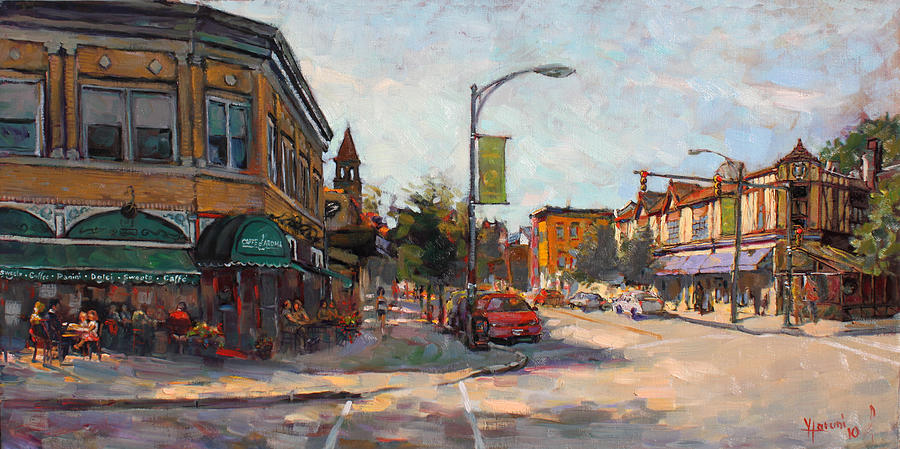 Caffe Aroma Painting - Caffe Aroma In Elmwood Ave by Ylli Haruni