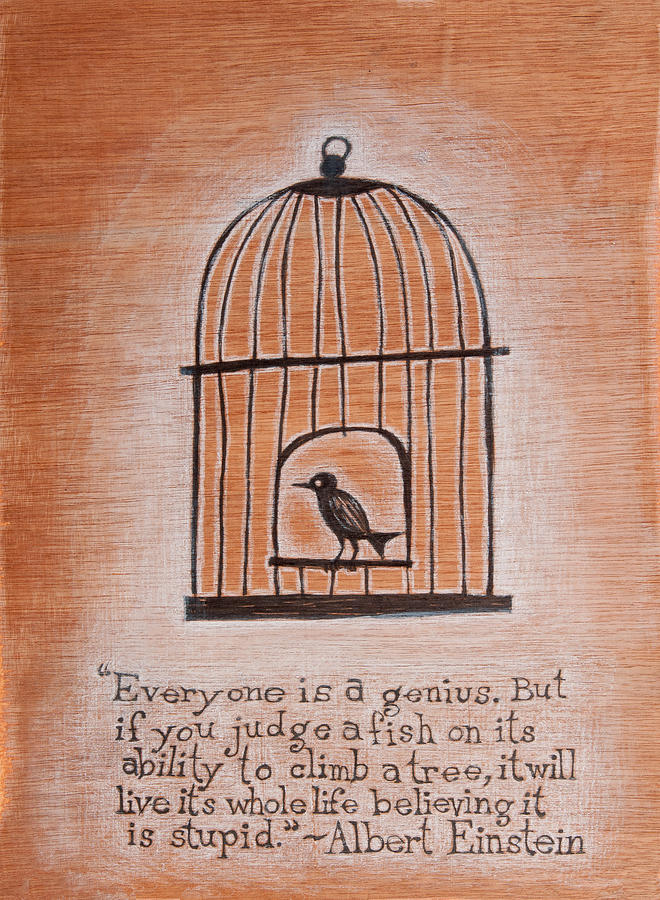Birdcage Drawing - Caged Genius by Canis Canon
