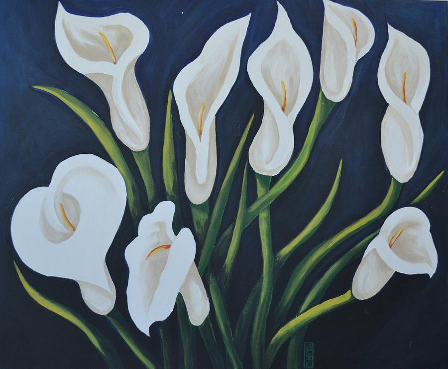 Cala Lily Painting - Cala Lilies by Holly Donohoe