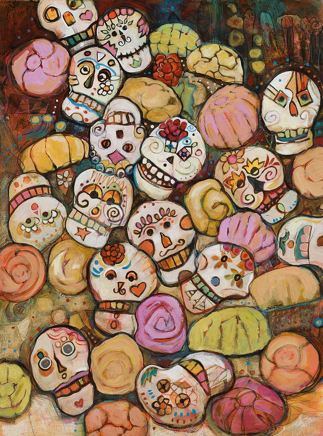 Sugar Skulls Painting - Calaveras Azucar Y Pan Dulce by Jen Norton