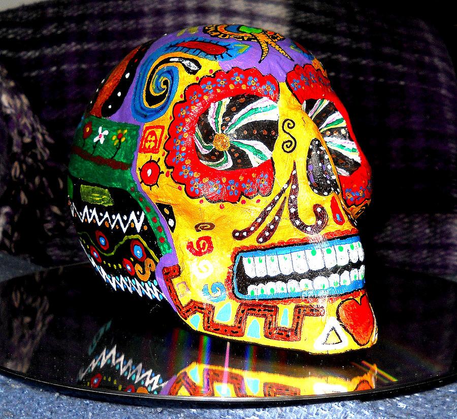 Mexican Skull Painting - Calaverita 1 by Israel Zuniga