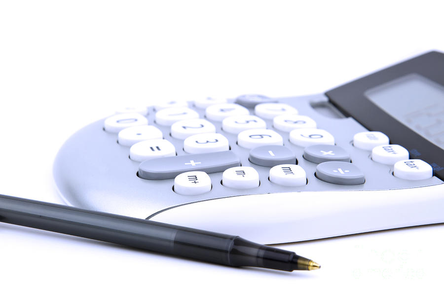 Calculator Photograph - Calculator And Pen by Blink Images