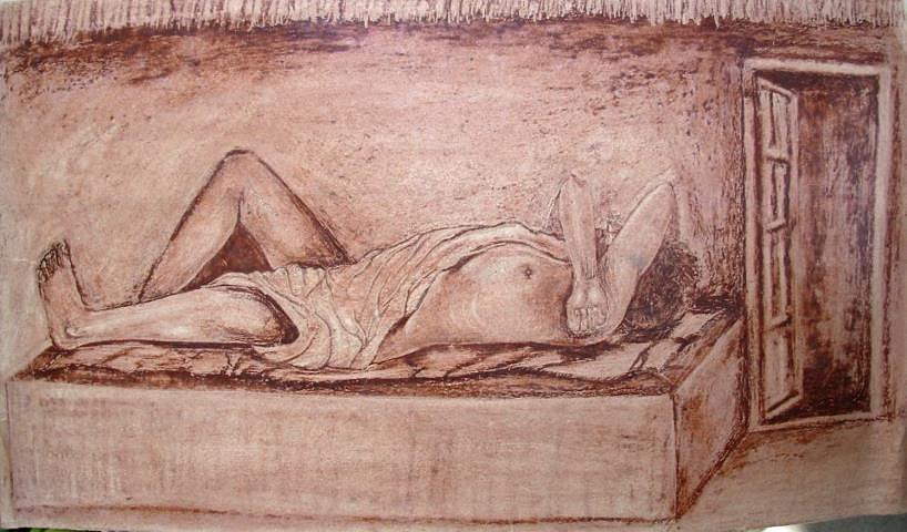 When One Sleeps Painting - Calm Sleep by Jitendra Gavali
