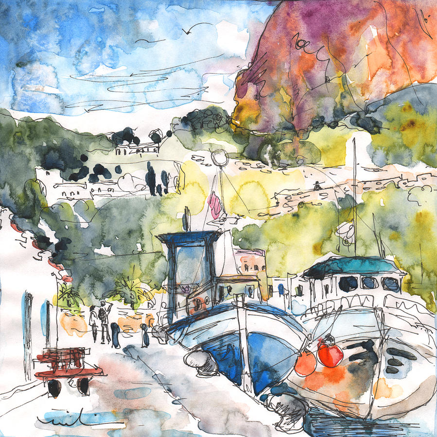 Travel Painting - Calpe Harbour 05 by Miki De Goodaboom