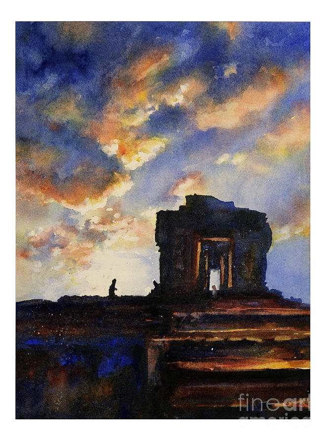Ancient Ruins Painting - Cambodian Sunset by Ryan Fox
