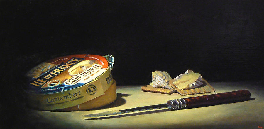 Camembert Knife And Crackers Painting by Jeffrey Hayes