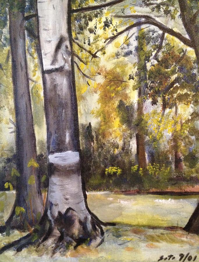 Landscape Painting - Camp Sebago Trees by Victor SOTO