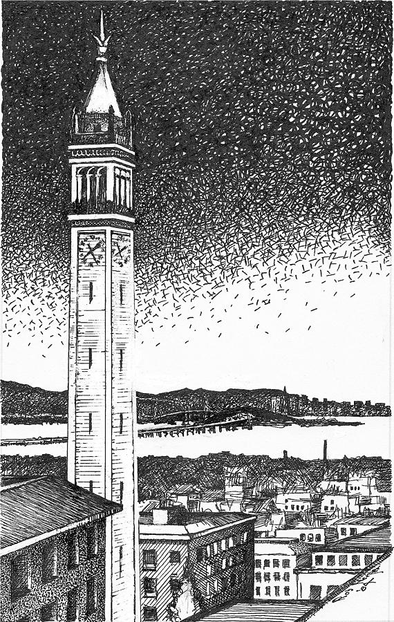 Outdoors Drawing - Campanile In Berkeley California Campus by Rob M Harper
