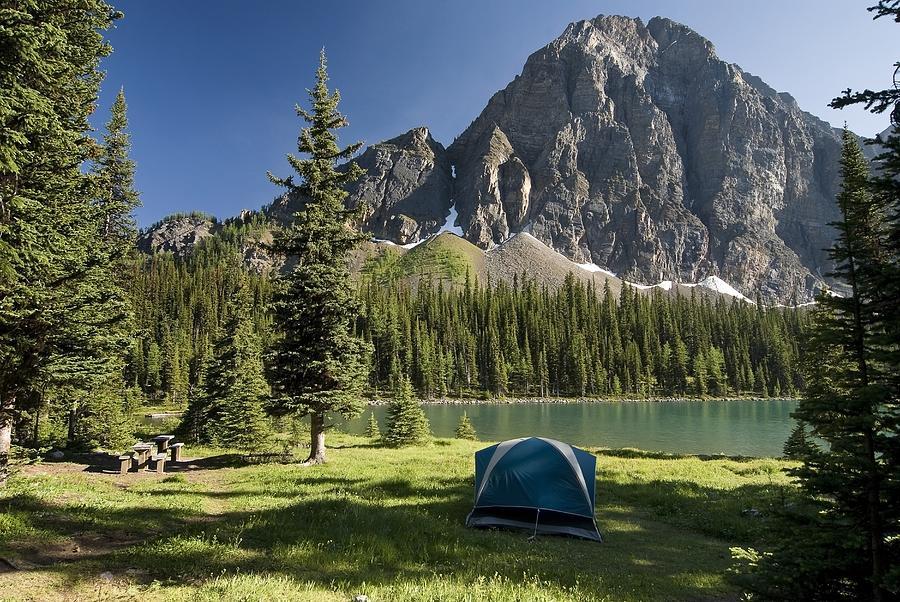 Camping, Taylor Lake, Banff National Photograph by ...