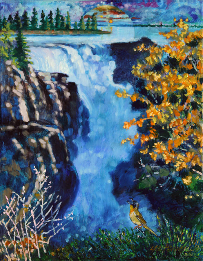 Mountain Waterfall Painting - Can You Hear Me by John Lautermilch