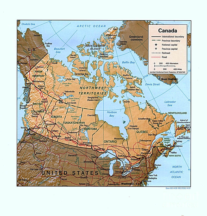Pd Drawing - Canada Relief Map by Pg Reproductions