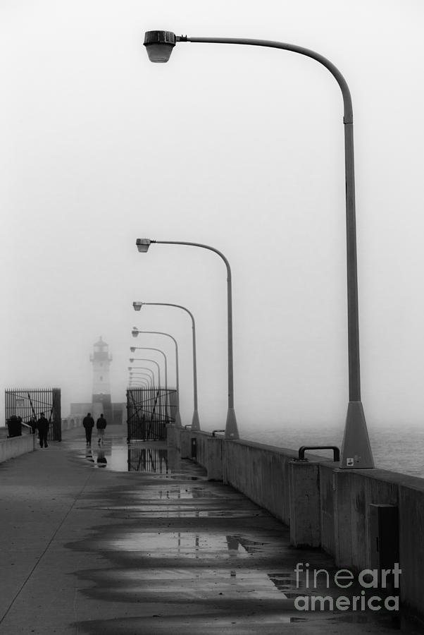 Lighthouse Photograph - Canal Park Lighthouse In Fog by Mark David Zahn