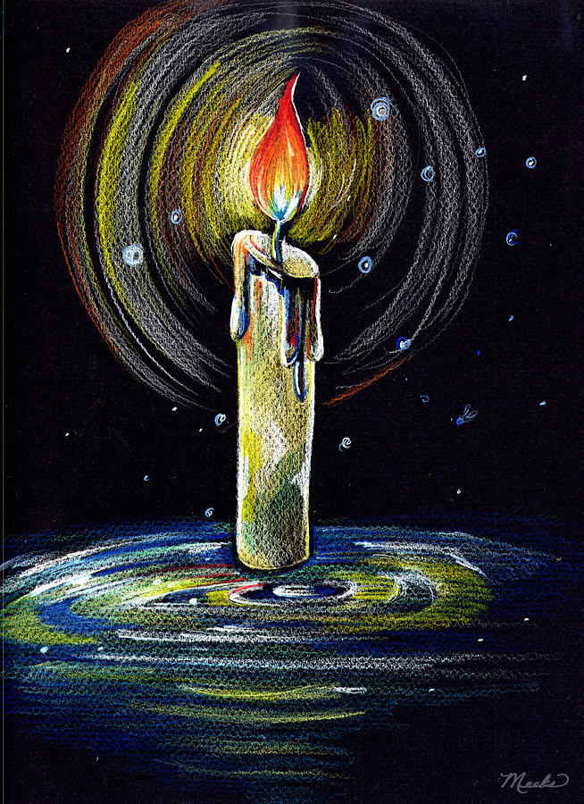 Candle Drawing - Candel On The Water  by Nada Meeks