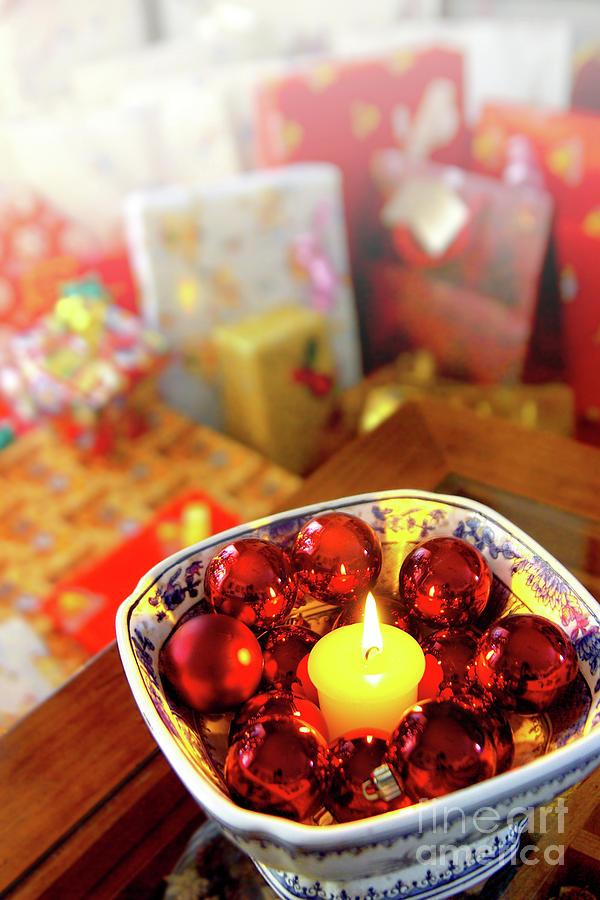 Adorn Photograph - Candle And Balls by Carlos Caetano