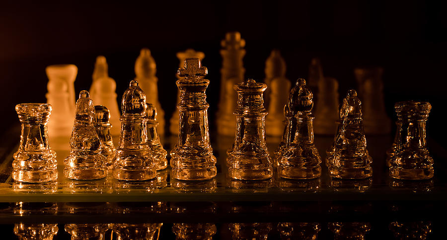 Board Photograph - Candle Lit Chess Men by Lori Coleman