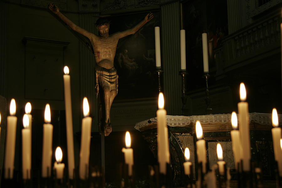 Ravenna Photograph - Candles And Saint Inside A Cathedral by Gina Martin