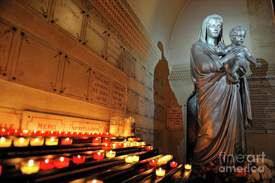 Spirituality Photograph - Candles And Virgin Mary With Infant by Sami Sarkis