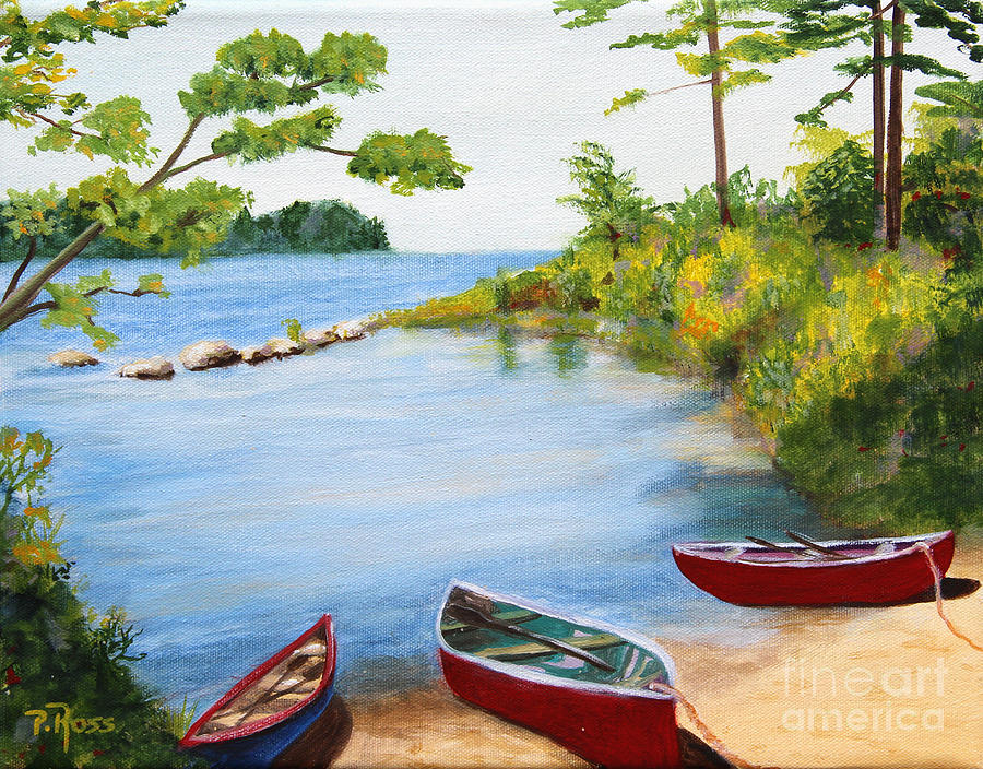 Canoes Painting - Canoe Inlet by Pauline Ross
