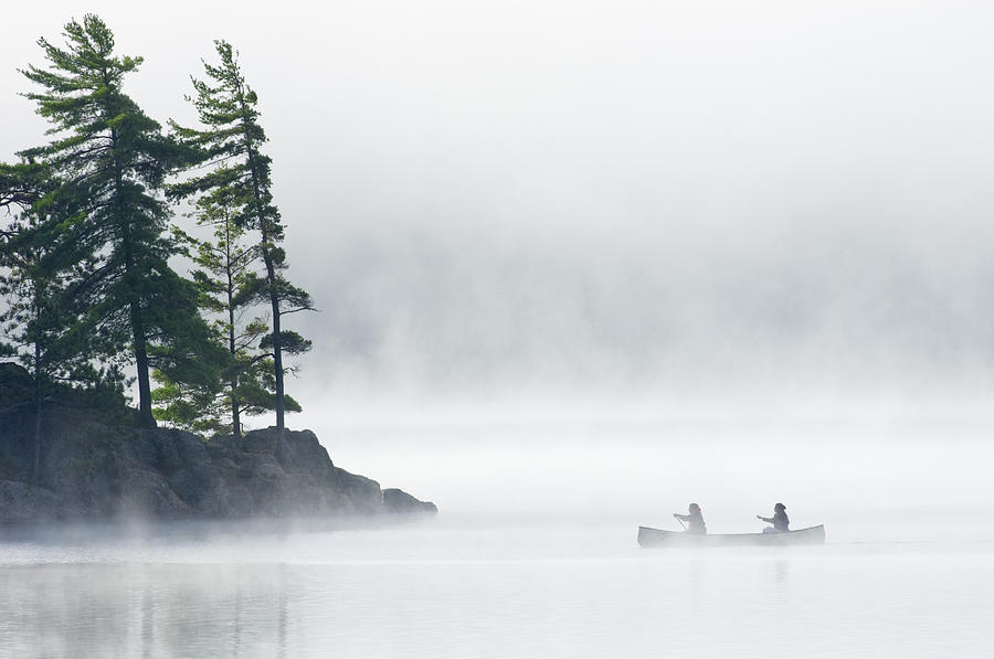 Canoe Photograph - Canoeing Through Fog On Lake Of Two by Mike Grandmailson