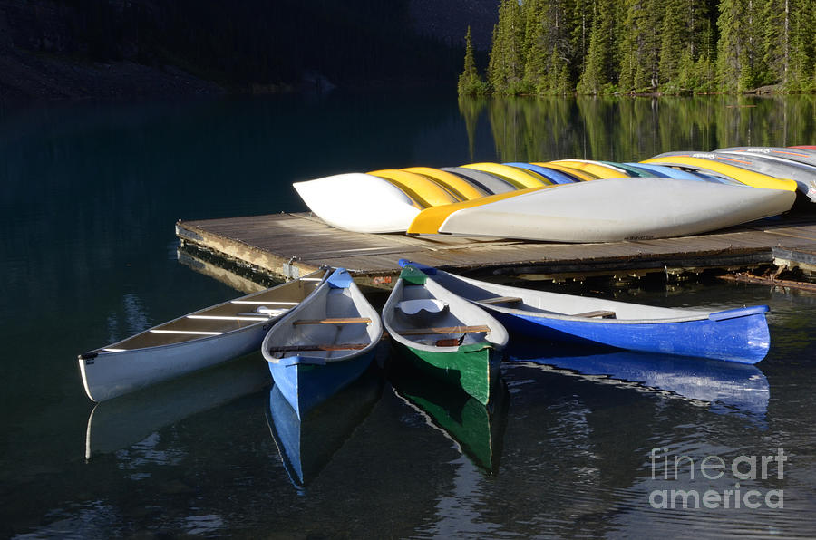 Canoes Photograph - Canoes Morraine Lake 2 by Bob Christopher