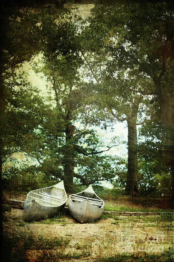 Canoe Photograph - Canoes On The Shore by Stephanie Frey