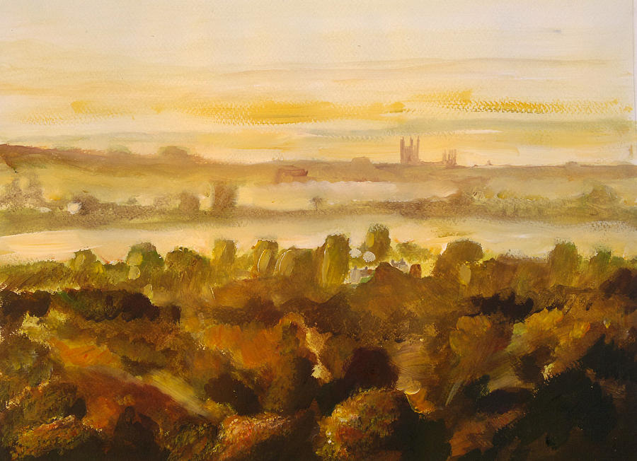 Watercolour Painting - Canterbury Autumnal Haze by Paul Mitchell
