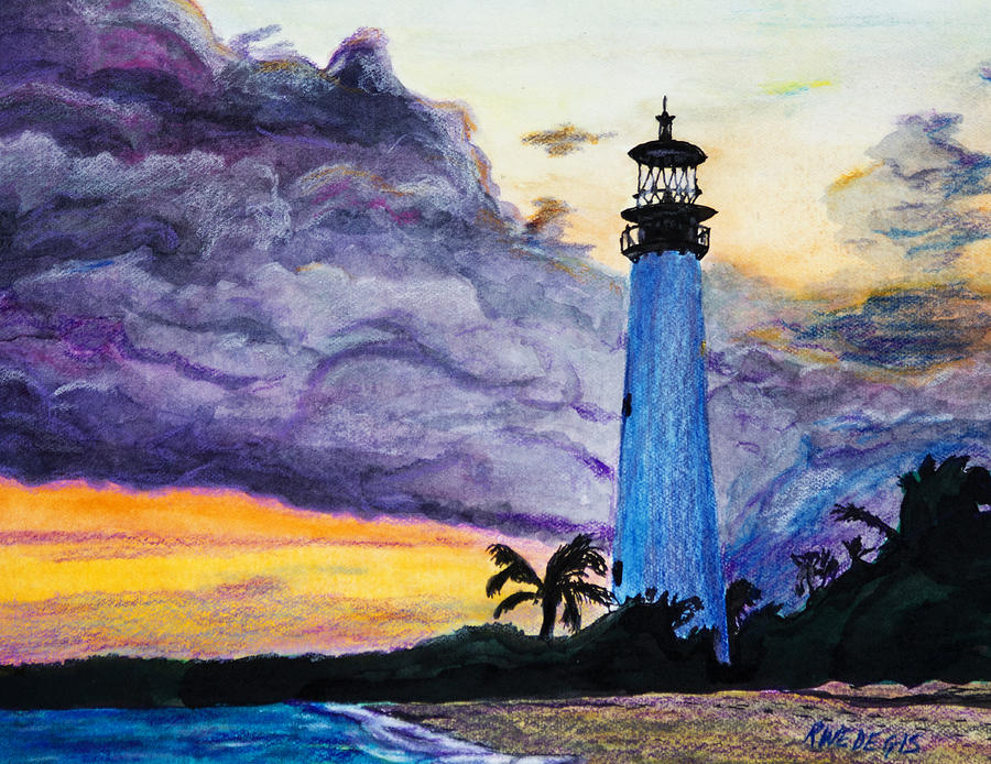 Cape Florida Lighthouse Painting By Roger Wedegis