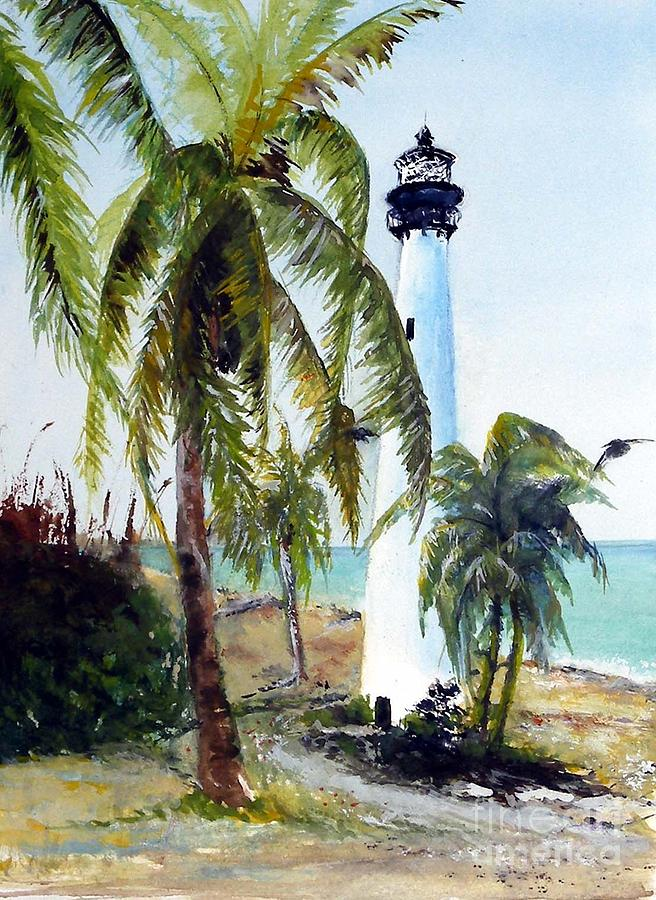 Lighthouse Painting - Cape Florida Lighthouse by Sibby S