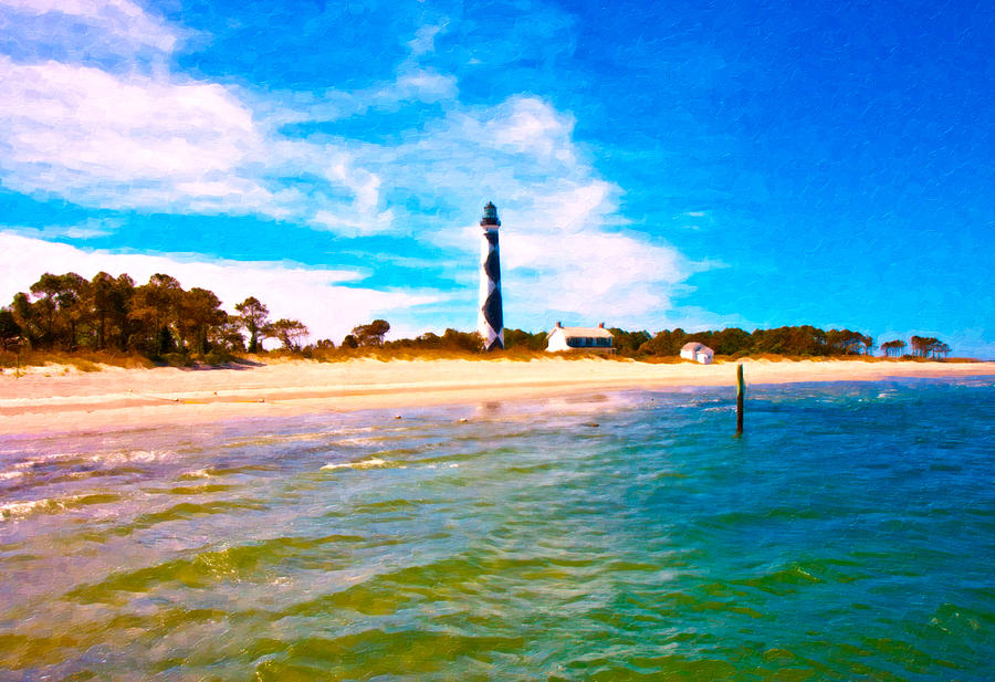 Cape Digital Art - Cape Lookout Shore And Lighthouse by Betsy Knapp