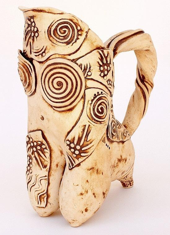 Pitcher Ceramic Art - Cappuccino Pitcher by Vicky DeLong