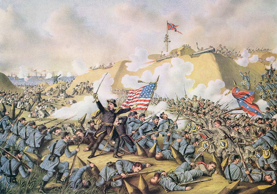 1865 Painting - Capture Of Fort Fisher 15th January 1865 by American School