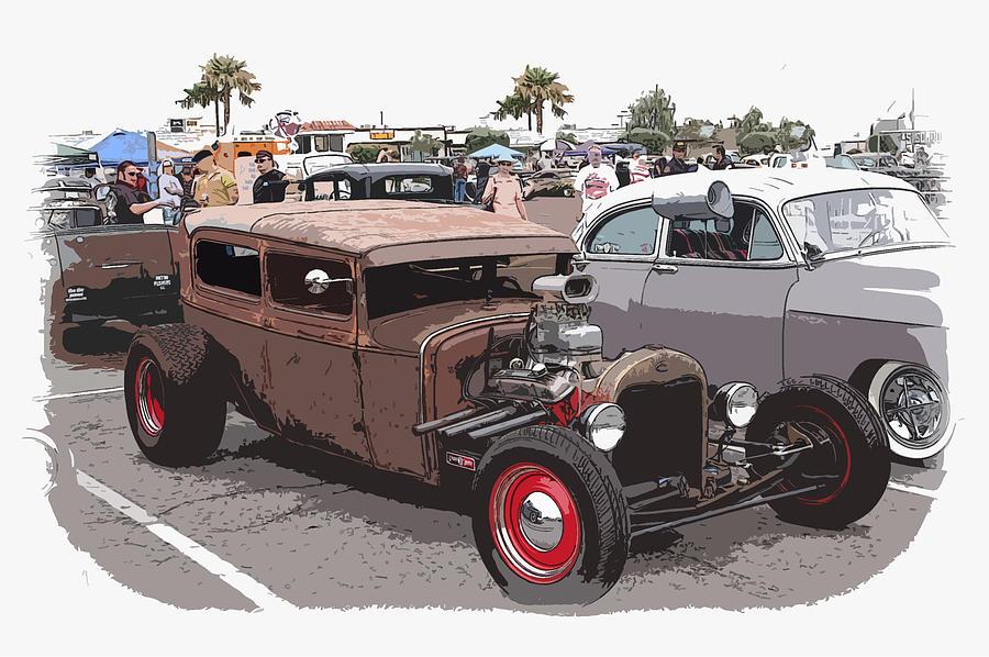 Model A Sedan Photograph - Car Show 1928 by Steve McKinzie