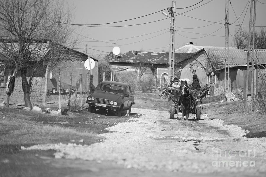 Horse Drawn Cart Photograph - Car Vs Horse Cart by Gabriela Insuratelu