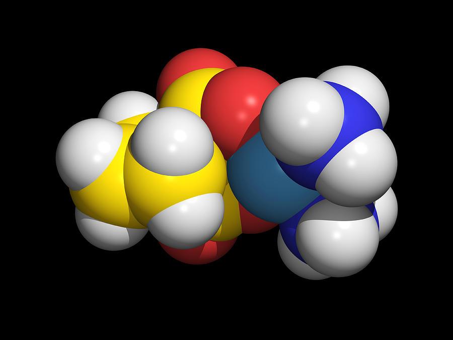 Carboplatin Photograph - Carboplatin Molecule, Cancer Drug by Dr Tim Evans