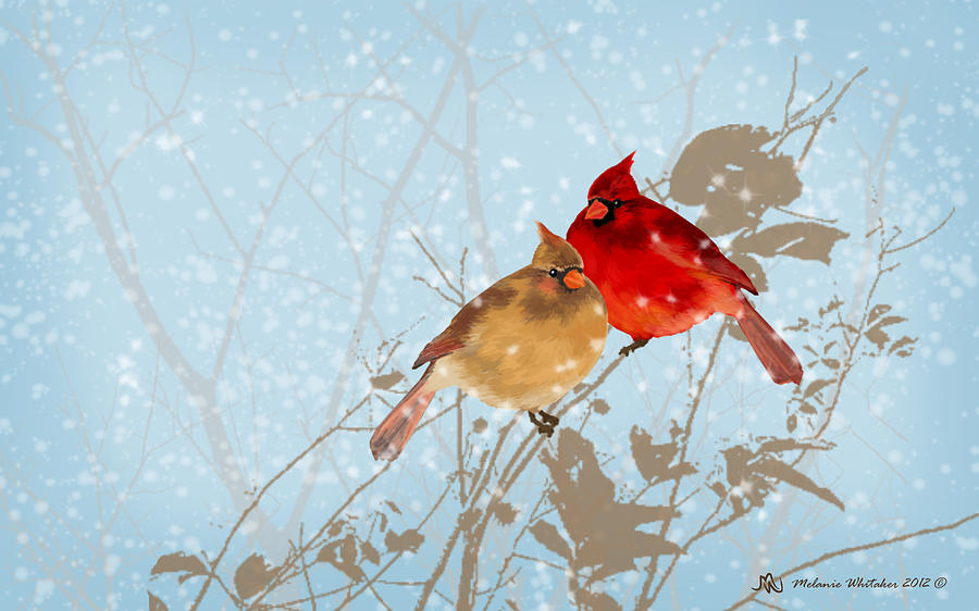 Cardinals in the snow painting by melanie whitaker - Pictures of cardinals in snow ...