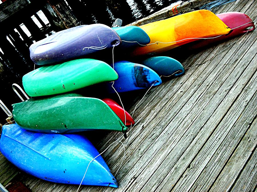 Canoes Photograph - Carefully Stacked by Kevin D Davis