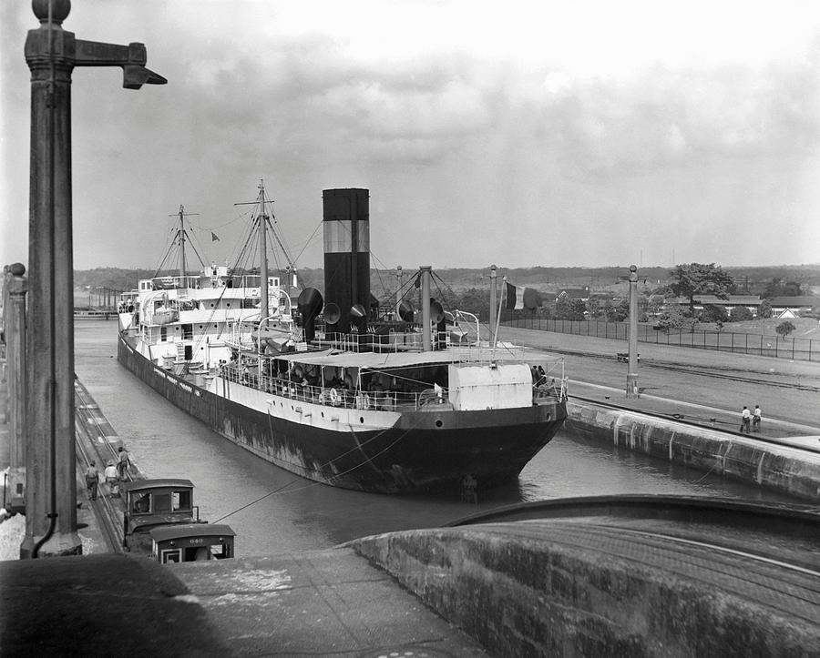 Horizontal Photograph - Cargo Ship, Panama Canal by George Marks